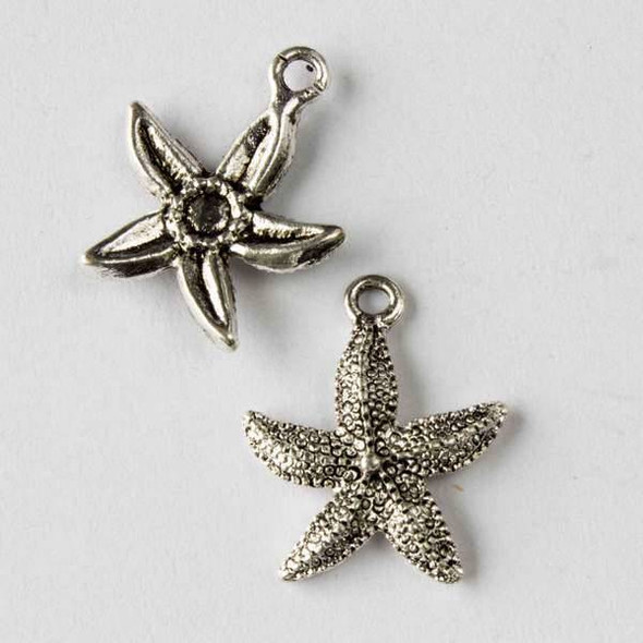 Silver Pewter 17x21mm Starfish Charm - 10 per bag