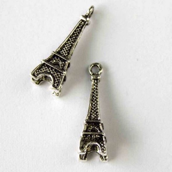 Silver Pewter 8x24mm Eiffel Tower Charm - 10 per bag