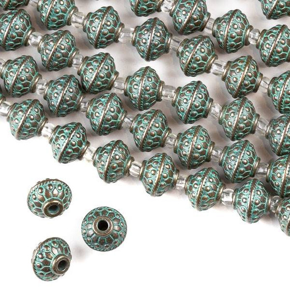 Green Bronze Colored Pewter 10x12mm Bumpy Saucer Beads with 2mm Large Hole - approx. 8 inch strand - CTB8in12257gb