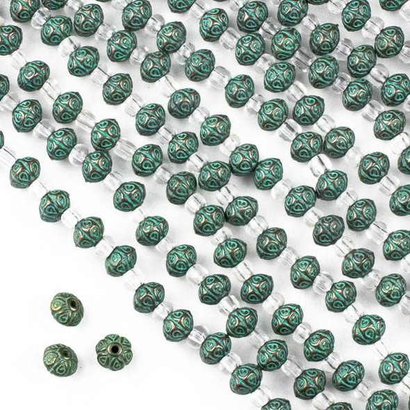 Green Bronze Colored Pewter 5x7mm Bumpy Bali Style Round Beads - approx. 8 inch strand - CTB8in16409gb