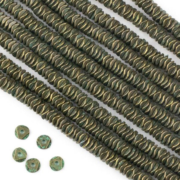 Green Bronze Colored Pewter 2x6mm Faceted Heishi Beads - approx. 8 inch strand - CTB8in18112gb