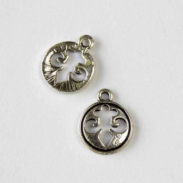 Silver Pewter 13mm Fleur De Lis Coin Charm - 10 per bag