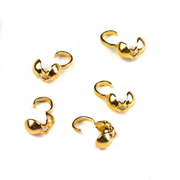 Gold Colored Brass 4x9mm Clam Shell Bead Tip - CTBDS035g - 80 per bag