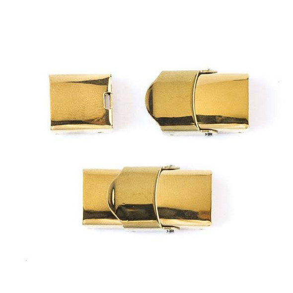 Gold Colored Stainless Steel 14x25mm Cord Clasp - 1 per bag - CTBMC022g
