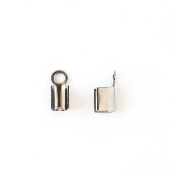 Stainless Steel 4mm Fold Over Cord Ends -  50 per bag (25 pairs) - CTBP120105ss