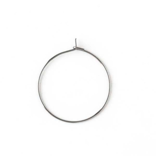 Stainless Steel 25mm Hoop Ear Wires - 32 per bag - CTBP170102ss