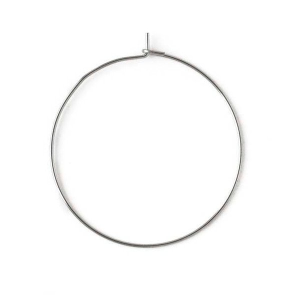 Stainless Steel 35mm Hoop Ear Wire -  25 per bag - CTBP170104ss