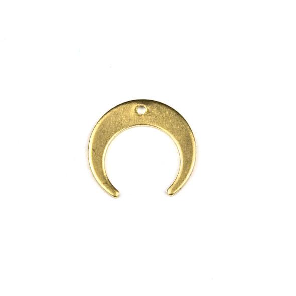 Raw Brass 16x18mm Horizontal Crescent Moon Drop Components - 6 per bag - CTBPF-001
