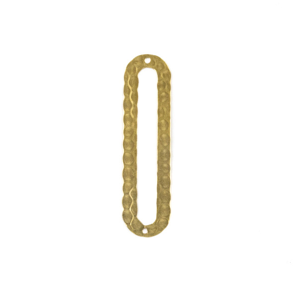 Raw Brass 12x46mm Textured Oval Paper Clip Link Components - 6 per bag - CTBPF-003