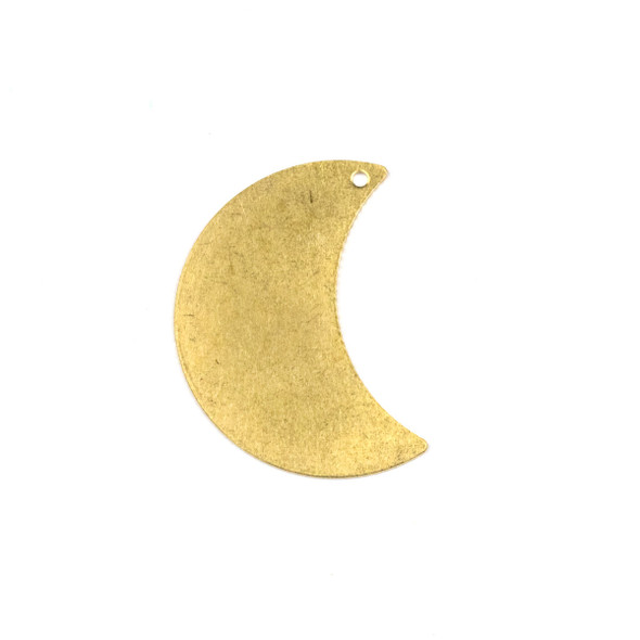 Raw Brass 20x29mm Waxing Crescent Moon Drop Components with 1 hole - 6 per bag - CTBPF-007