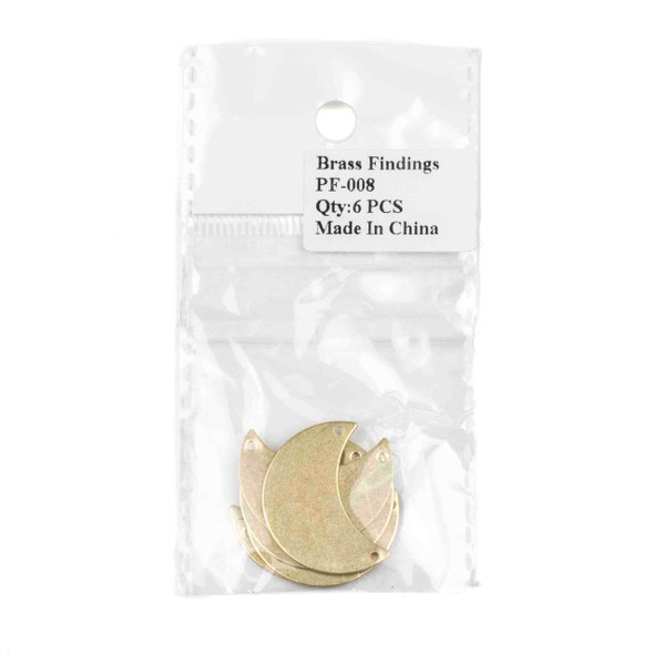Raw Brass 20x29mm Waxing Crescent Moon Link Components with 2 holes - 6 per bag - CTBPF-008