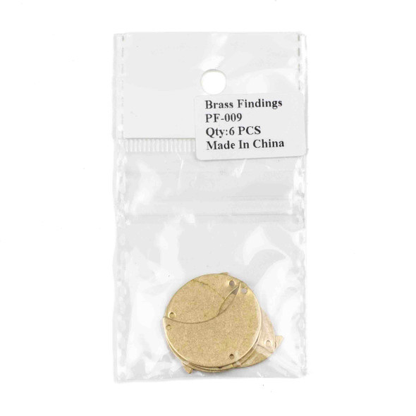 Raw Brass 20x29mm Waxing Crescent Moon Link Components with 3 holes - 6 per bag - CTBPF-009