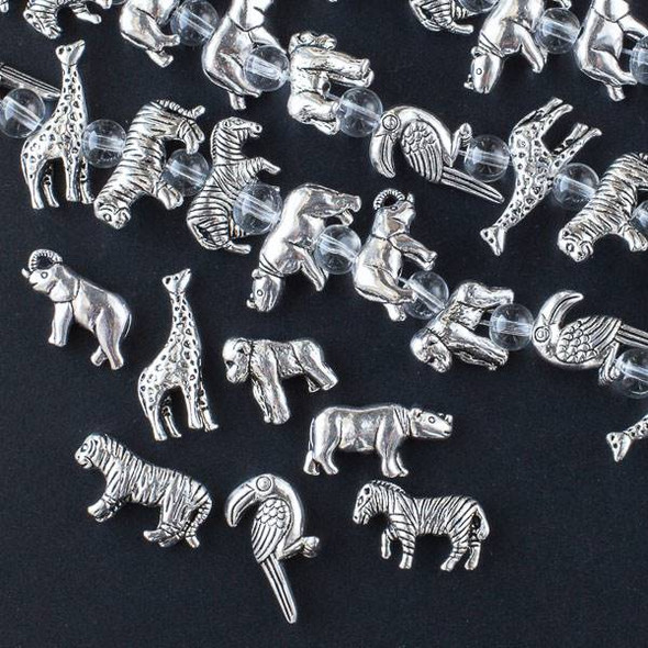 Silver Pewter African Safari Mixed Strand - approx. 8 inch strand - CTBsafmx1640s