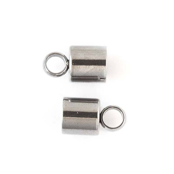 Stainless Steel 6mm Cord Ends - 6 per bag - CTBTH025ss