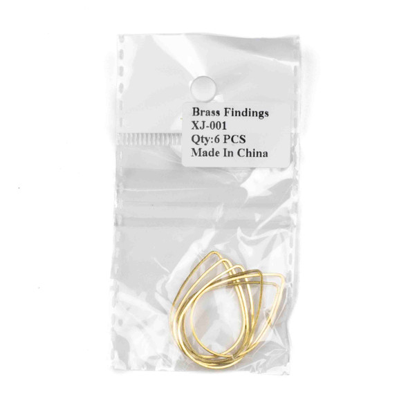 Raw Brass 22x31mm Teardrop Link Components - 6 per bag - CTBXJ-001