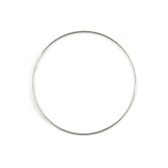 Silver Plated Brass 44mm Hoop Link Components - 6 per bag - CTBXJ-010s