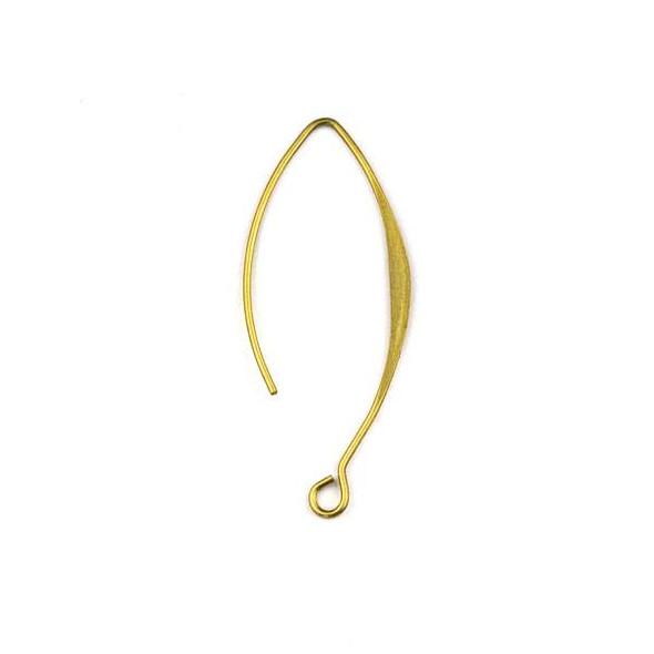Raw Brass 15x36mm V Shaped Ear Wire with Flat Side - 6 per bag - CTBXJ-027