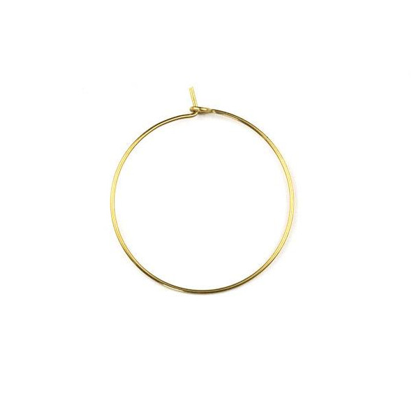 Raw Brass 30mm Hoop Ear Wires - 6 per bag - CTBXJ-028