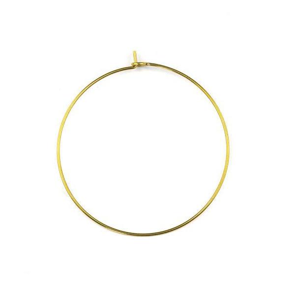 Raw Brass 40mm Hoop Ear Wires - 6 per bag - CTBXJ-029