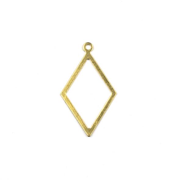 Raw Brass 17x29mm Diamond Drop Components - 6 per bag - CTBXJ-031