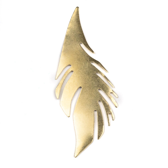 Raw Brass 30x76mm Feather Drop Components (No Hole) - 6 per bag - CTBXJ-033