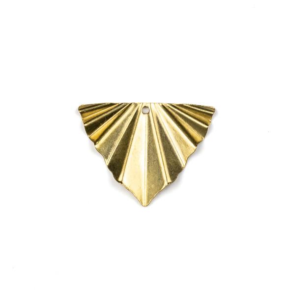 Raw Brass 22x28mm Crinkled Triangle Drop Components - 6 per bag - CTBXJ-039