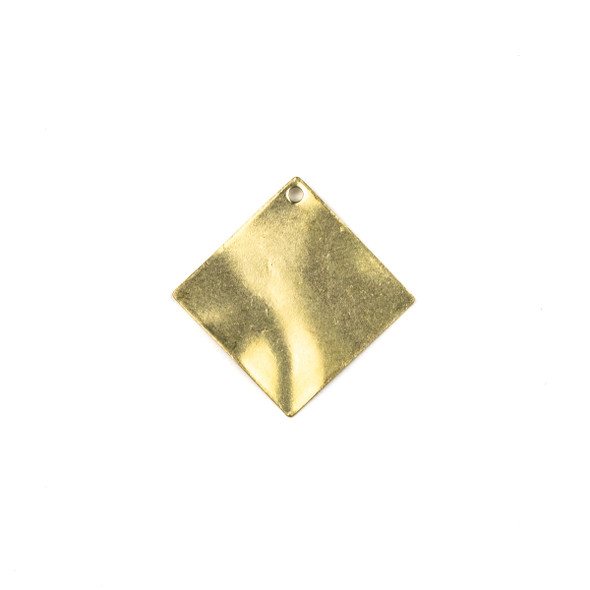 Raw Brass 25mm Wavy Diamond Drop Components - 6 per bag - CTBXJ-040