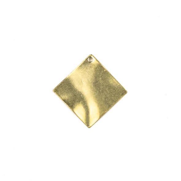Raw Brass 25mm Wavy Diamond Drop Components - 6 per bag - CTBXJ-040