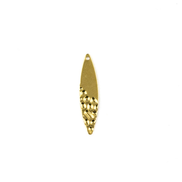 Raw Brass 7x29mm Half Textured Marquis Drop Components - 6 per bag - CTBXJ-044