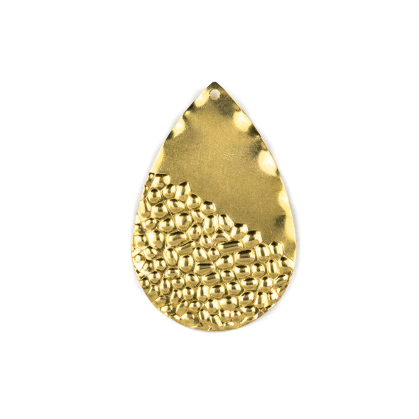 Raw Brass 29x43mm Half Textured Teardrop Drop Components - 6 per bag - CTBXJ-045