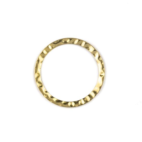 Raw Brass 3mm Thick x 36mm Hammered Hoop Components - 6 per bag - CTBXJ-050