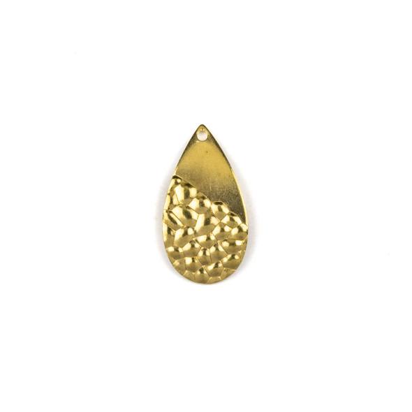 Raw Brass 13x25mm Half Textured Curved Teardrop Drop Components - 6 per bag - CTBXJ-052