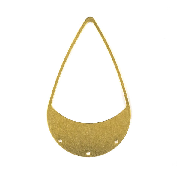 Raw Brass 35x58mm Large Teardrop Link Components with 3 holes - 6 per bag - CTBXJ-054