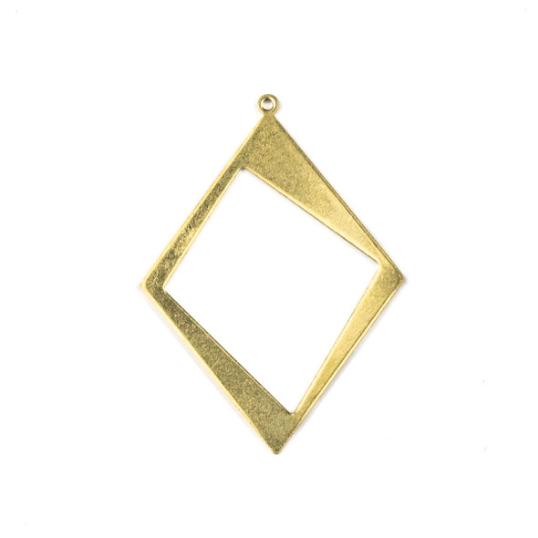 Raw Brass 30x41mm Asymmetrical Diamond Drop Components - 6 per bag - CTBXJ-055