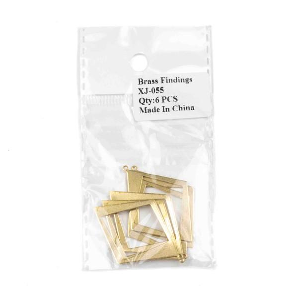 Raw Brass 30x41mm Asymmetrical Diamond Drop Components - 6 per bag - CTBXJ-055