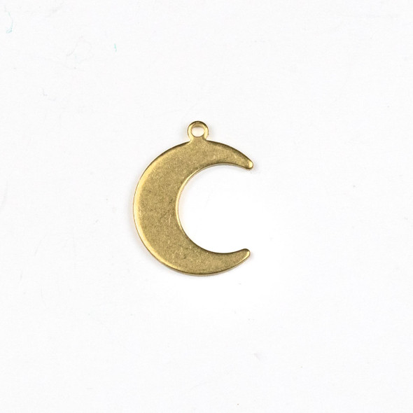 Raw Brass 14x18mm Crescent Moon Drop Components - 6 per bag - CTBXJ-058