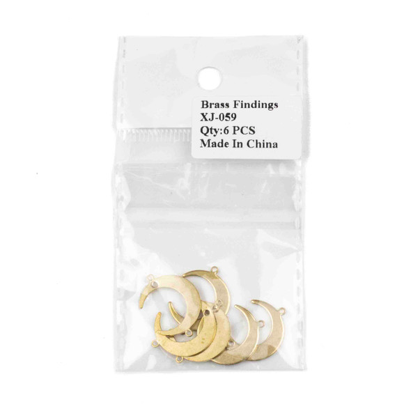 Raw Brass 16x22mm Crescent Moon Link Components - 6 per bag - CTBXJ-059