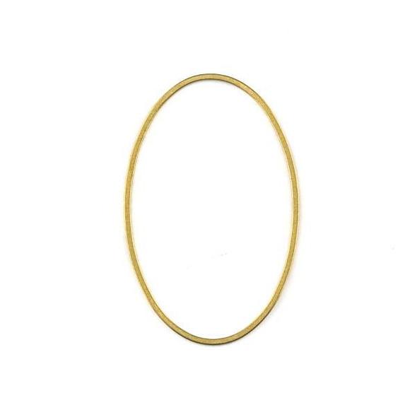 Raw Brass 30x46mm Oval Hoop Components - 6 per bag - CTBYH-009b