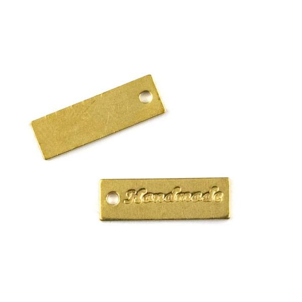 "Raw Brass 5x17mm ""Handmade"" Rectangle Tag Charm - 6 per bag - CTBYH-006b"
