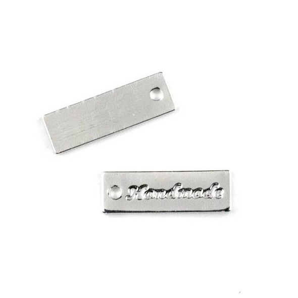 "Silver Plated Brass 5x17mm ""Handmade"" Rectangle Tag Charm - 6 per bag - CTBYH-006s"
