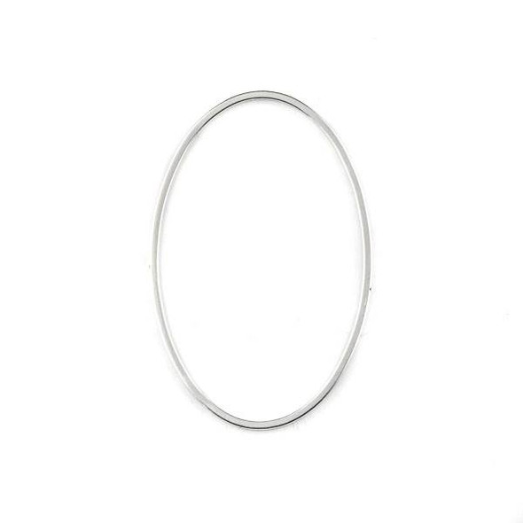 Silver Plated Brass 30x46mm Oval Hoop Components - 6 per bag - CTBYH-009s