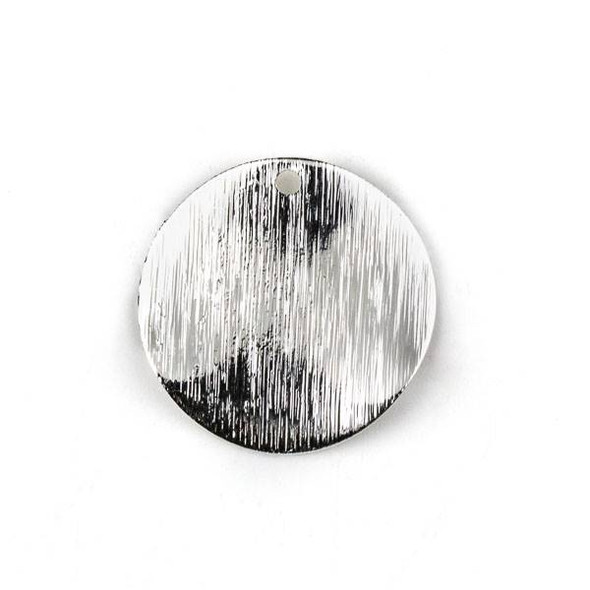 Silver Plated Brass 25mm Wavy Textured Coin Drop Components - 6 per bag - CTBYH-011s