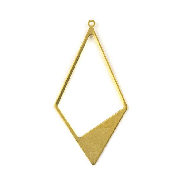 Raw Brass 28x56mm Asymmetrical Diamond Shaped Drop Components - 6 per bag - CTBYH-012b