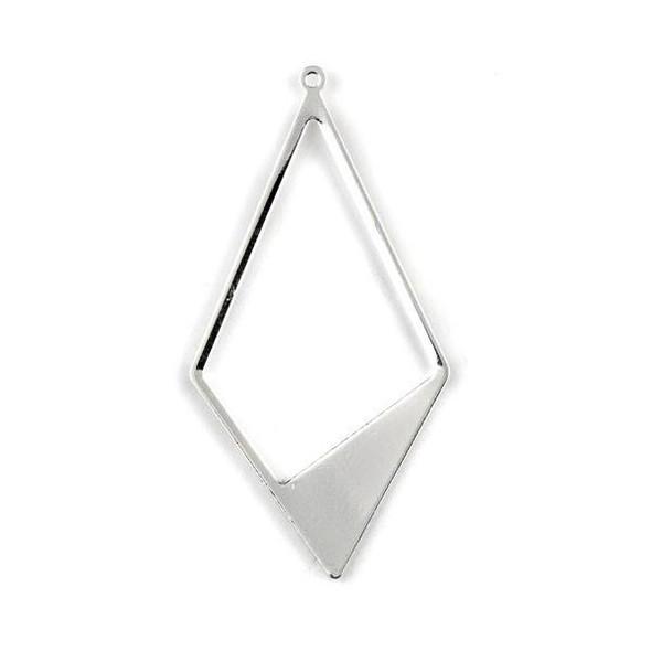 Silver Plated Brass 28x56mm Asymmetrical Diamond Shaped Drop Components - 6 per bag - CTBYH-012s