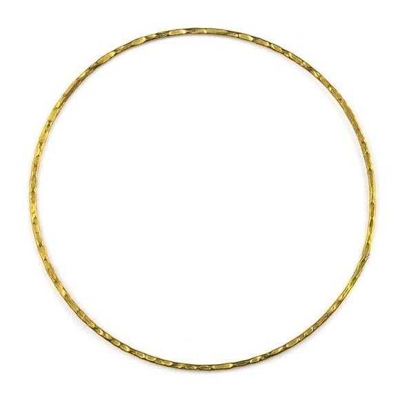 Raw Brass 60mm Textured Hoop Components - 6 per bag - CTBYH-013b