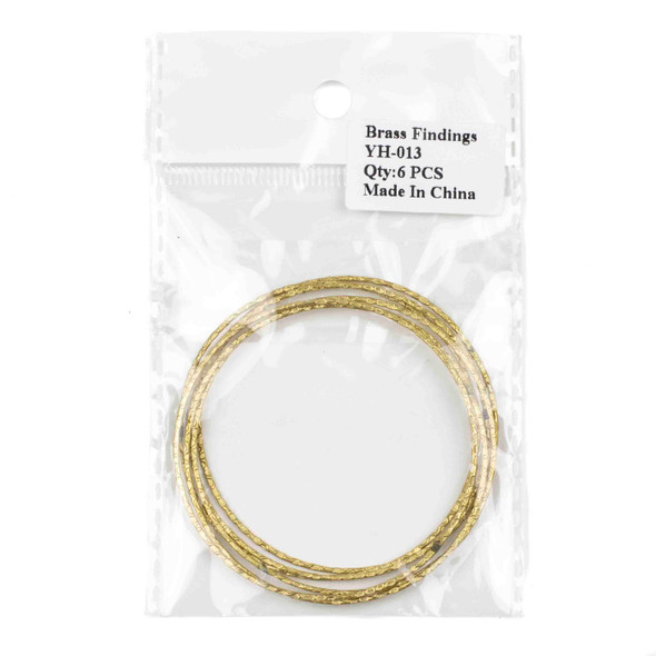 Raw Brass 60mm Textured Hoop Components - 6 per bag - CTBYH-013b