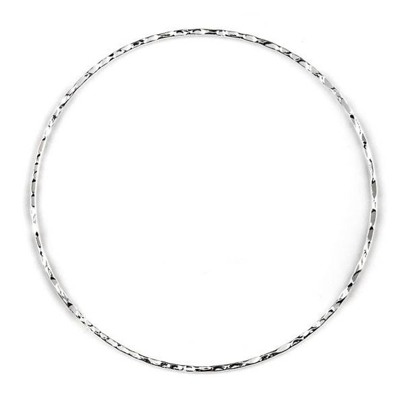 Silver Plated Brass 60mm Textured Hoop Components - 6 per bag - CTBYH-011s