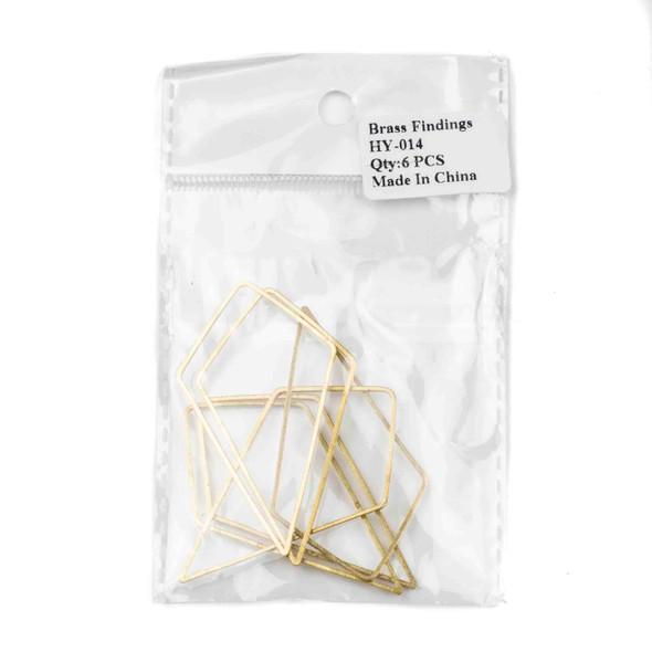 Raw Brass 34mm Kite Geometric Shaped Components - 6 per bag - CTBYH-014b