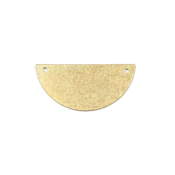 Raw Brass 18x38mm Half Moon Link Components with 2 Holes - 6 per bag - CTBYH-018b