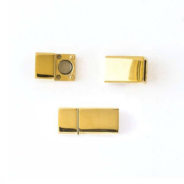 Gold Colored Stainless Steel 8x17mm Magnetic Rectangle Clasp -  1 set per bag - CTBZ113g